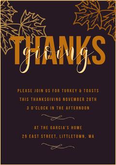 purple leaf thanksgiving invite Thanksgiving