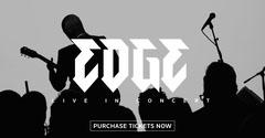 Black, White and Grey Concert Ad Facebook Banner Rock Concert