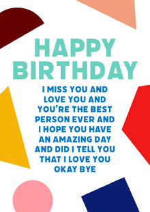Happy Birthday Geometric Shapes Cartões
