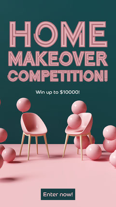 Green & Pink Home Makeover Competition Instagram Story  Furniture Sale