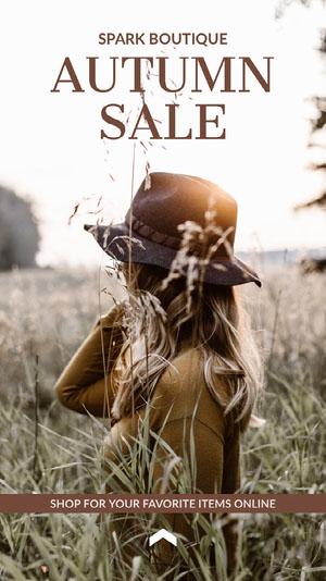 Light Toned Autumn Sale Ad Instagram Story imagens grátis para sua loja no Instagram