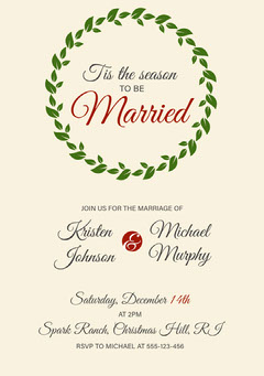 Beige, Green and Red, Light Toned Wedding Invitation Card Christmas Invitation