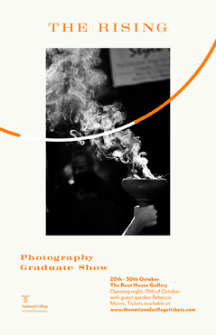orange black and white photography graduate show poster Speaker