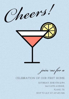 Light Blue Illustrated Housewarming Party Invitation Card with Cocktail Cocktails