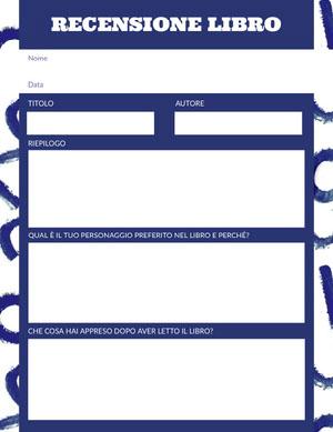white and blue book review Foglio di lavoro