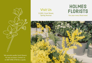 Green and Yellow Floral Florist Brochure with Photo Pamphlet