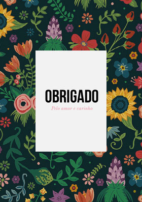 colorful floral thank you cards  Cartão de agradecimento