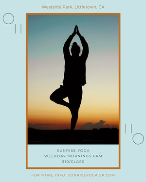 Blue and Black Sunrise Yoga Igportrait Yoga Posters