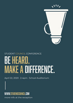 Blue, Gold and White, Student Council Conference, Flyer  Conference Flyer