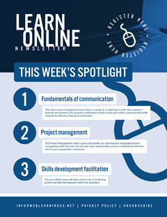 Blue and White Online School Newsletter Educational Course