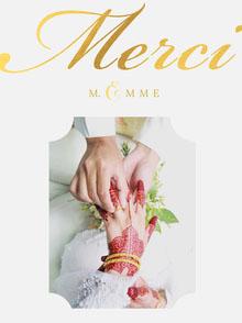 white wedding thank you cards  Carte de remerciement de mariage
