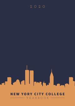 Blue and Orange, City Skyline Yearbook City