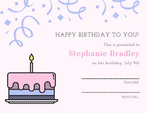 Pink and Blue Birthday Certificate from School with Cake Birthday Certificate