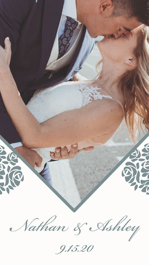 Elegant Floral Wedding Announcement Instagram Story With Bride and Groom Wedding Announcement