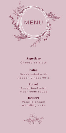 pink foliage wedding menu Menu de casamento