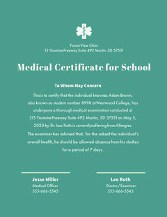 Medical Certificate for School Green