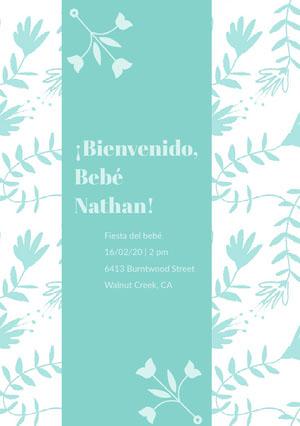 blue floral patterned baby shower invitations  Invitación de fiesta de nacimiento