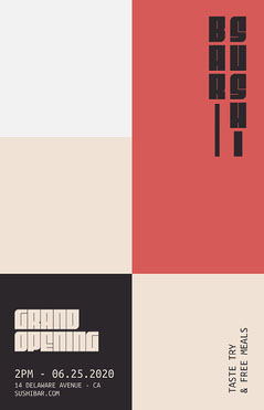 Black and Red, Geometric Sushi Bar Grand Opening, Poster Sushi