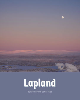 Pale Blue Lapland Postcard with Winter Scenery at Sunset Vykort