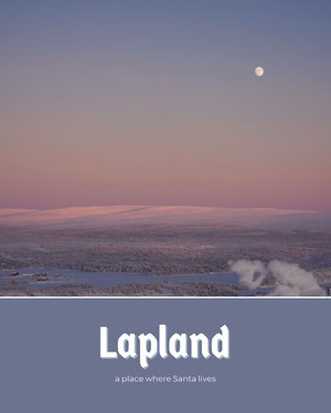 Pale Blue Lapland Postcard with Winter Scenery at Sunset Cartolina di viaggio