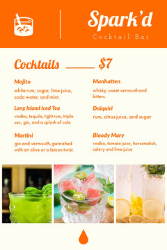 Orange Cocktail Bar Menu with Collage Drink Menu