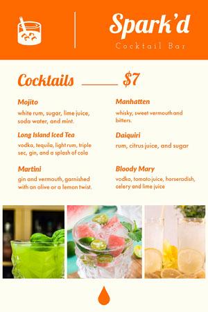 Orange Cocktail Bar Menu with Collage Drink Menu