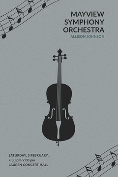 Gray Illustrated Classical Music Concert Poster with Cello Music