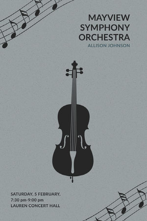 Gray Illustrated Classical Music Concert Poster with Cello Concert Poster