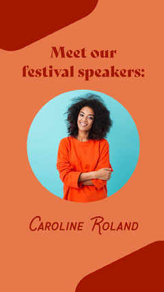 Red and Orange Festival Speaker Instagram Story with Photo of Smiling Woman Speaker