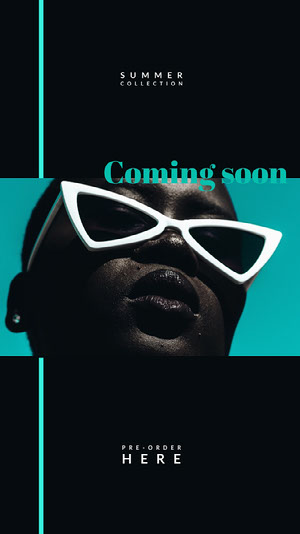 Black and Blue Summer Collection Social Post Coming Soon Post