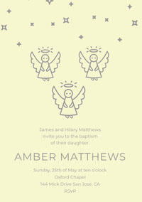 Yellow and Gray Illustrated Daughter Baptism Invitation Card with Angels Einladung zur Taufe