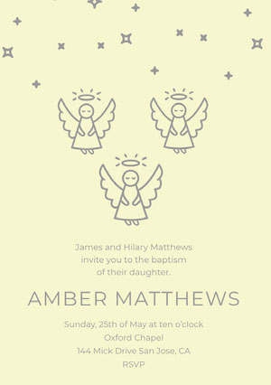 Yellow and Gray Illustrated Daughter Baptism Invitation Card with Angels Baptism Invitation