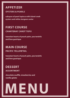 Pink and Red Wedding Menu Red