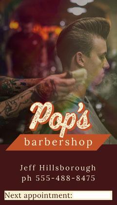 Brown Colored Man Getting Haircut Photo Barbershop Business Card Hair Salon