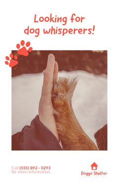 Dog Whisperer Wanted Flyer with Paw and Hand Job Poster
