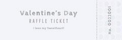 Gray Valentine's Day Party Raffle Ticket Valentine's Day