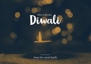 Gold, Illuminated Diwali Wishes Card Diwali