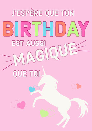 magical unicorn birthday cards Carte anniversaire licorne