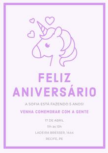 Purple Hearts unicorn birthday cards  Cartão de aniversário
