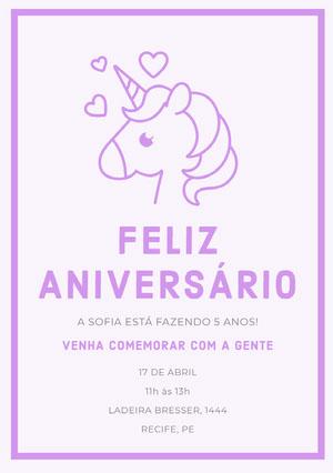 Purple Hearts unicorn birthday cards  Convite de aniversário de unicórnio