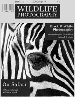 Black and White Wildlife Photography Magazine Cover Black And White