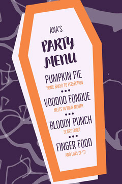 Purple and Orange Halloween Party Menu Halloween Party Menu