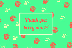 Red and Green Thank You Pun Postcard with Berries Thank You Poster