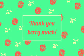 Red and Green Thank You Pun Postcard with Berries Postal