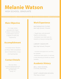 Orange Math and Engineering High School Student Resume Curriculum scuola superiore