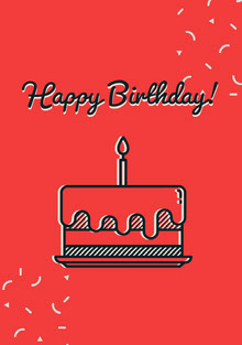 Red and Black Happy Birthday Card Tarjetas