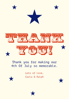 Red and Blue Stars Typography Fourth Of July Party Thank You Card  4th of July