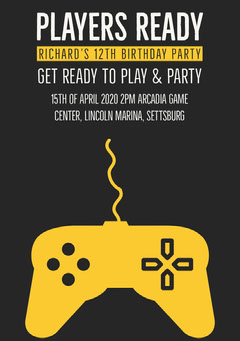 Yellow and Black Video Game Birthday Party Invitation Card for Boy Boys
