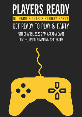 Yellow and Black Video Game Birthday Party Invitation Card for Boy Birthday Invitation (Boy)