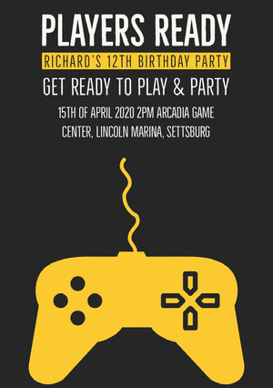 Yellow and Black Video Game Birthday Party Invitation Card for Boy Party Invitation